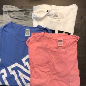 3 lg pink shirts and 1 md(fits like a lg)